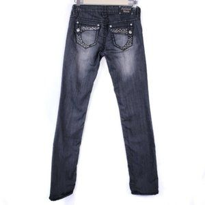 Buckle Antique Rivet Black Straght Leg Jeans